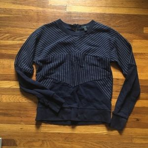 J Crew Navy with White Striped Sweatshirt